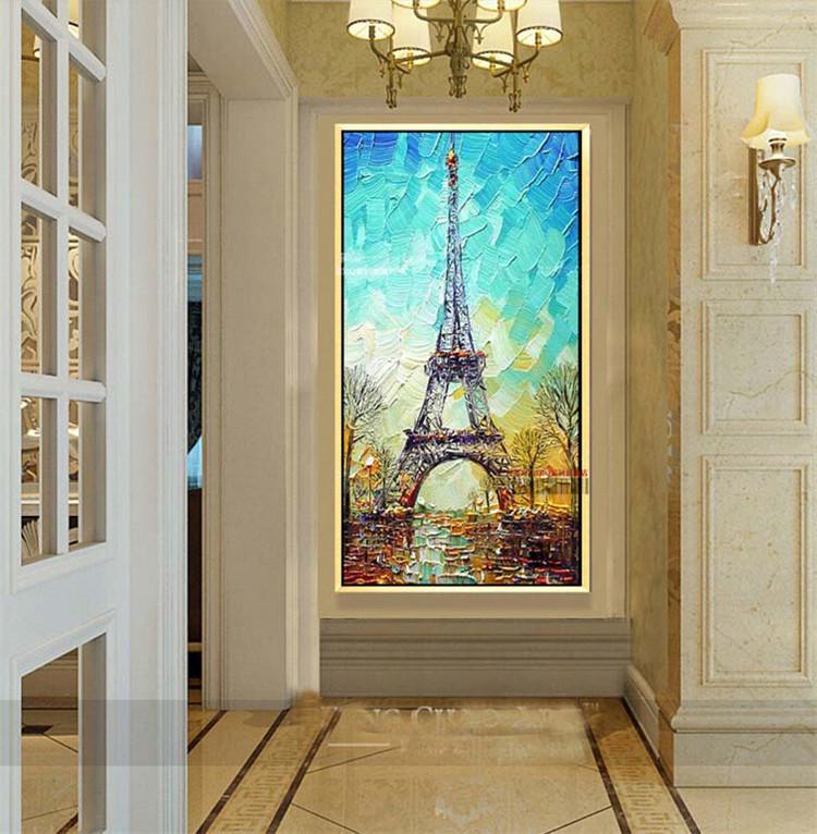 巴黎铁塔手绘玄关抽象画 立体油画 客厅走廊过道竖版挂画简约现代 有