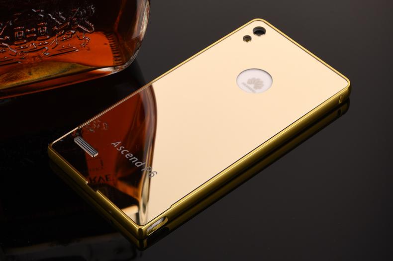 八嘟巴 手机壳保护套金属边框镜面后盖 适用于华为p6
