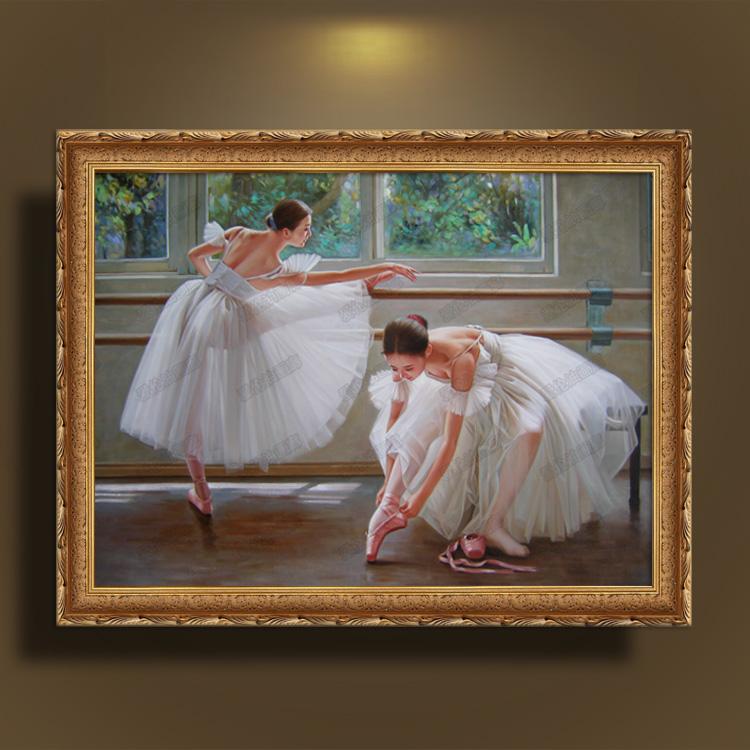 欧式有框纯手绘人物油画芭蕾女孩双人舞别墅客厅卧室