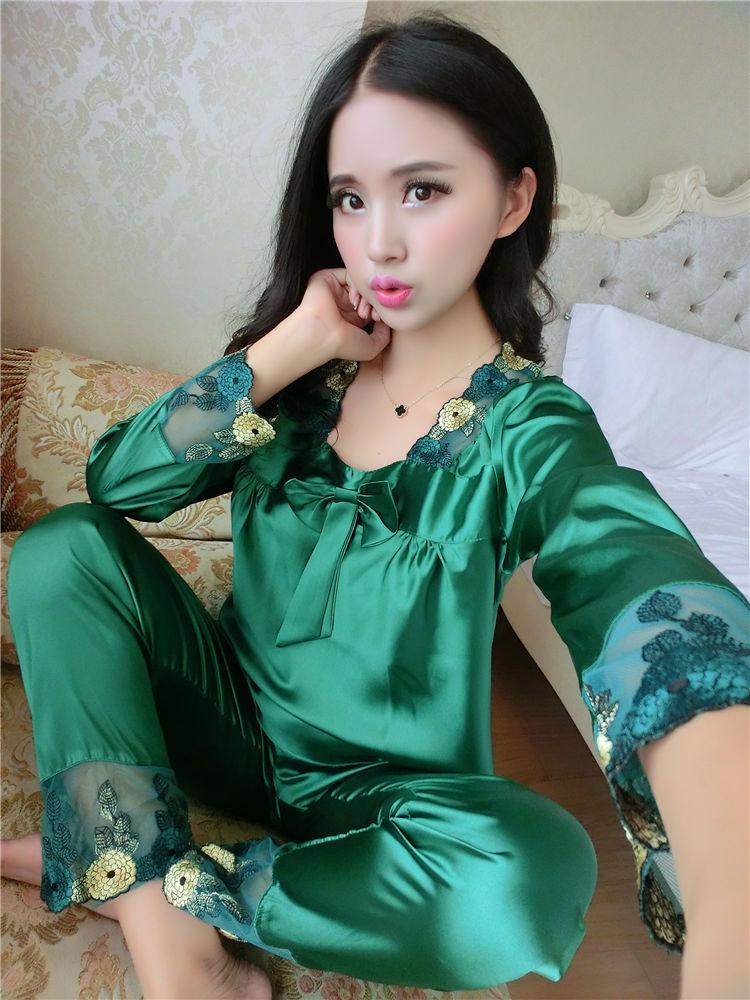 靓稻人 新款真丝睡衣女夏长袖丝绸睡衣套装情侣蕾丝性感大码春秋季