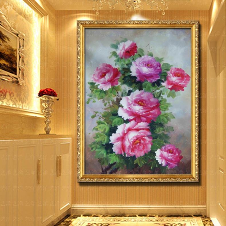纯手绘牡丹花油画玄关客厅卧室风水挂画装饰画有框画花开富贵横幅 104