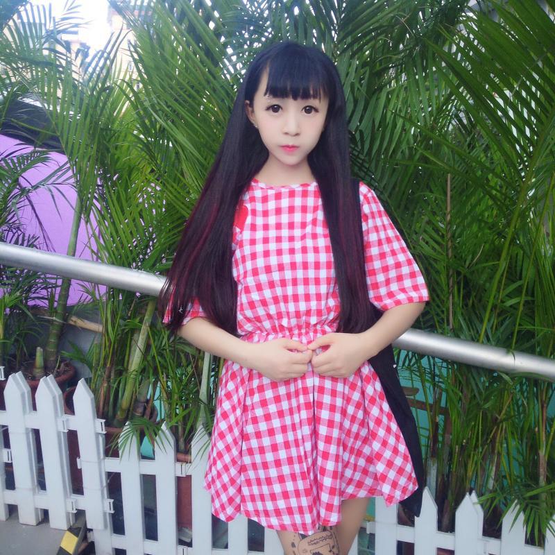 都言2016春夏日系软妹女装可爱格子小爱心小清新短袖连衣裙 粉红色