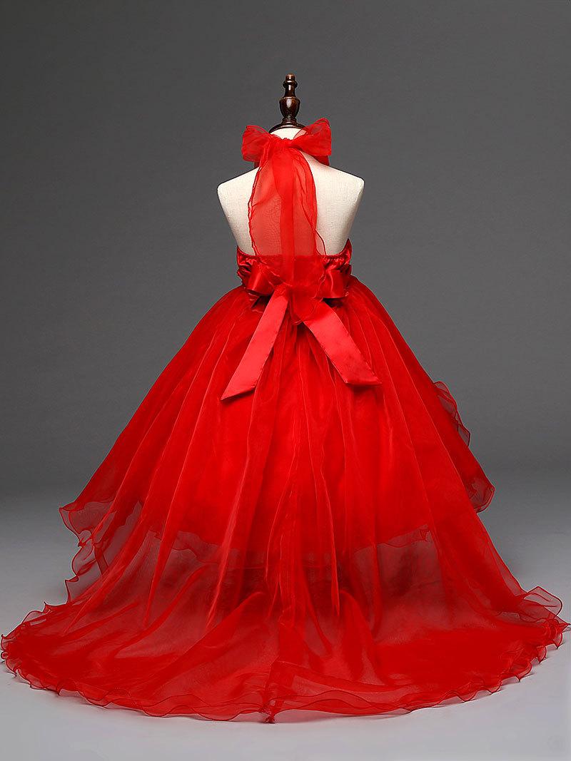 韩版女童花童礼服裙演出舞蹈裙儿童吊带公主长拖尾裙fz66 玫红色 160
