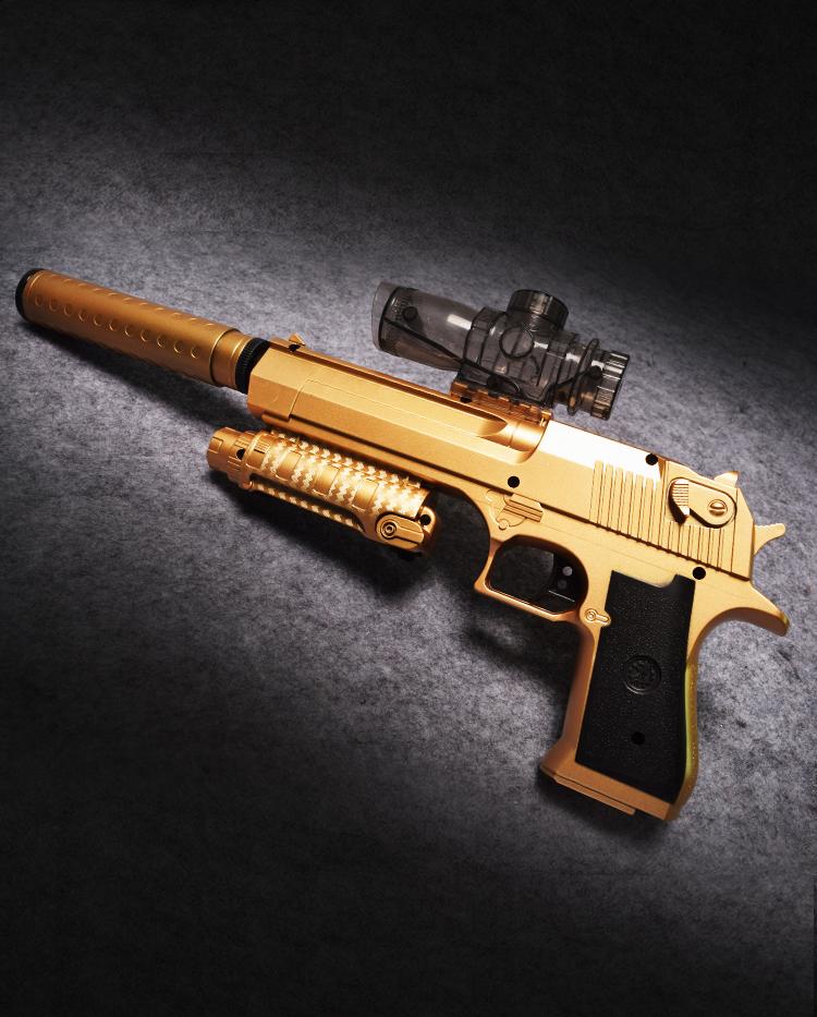 成人玩具枪可发射子弹水晶软弹枪沙鹰手枪电动连发水弹枪 金色mp57