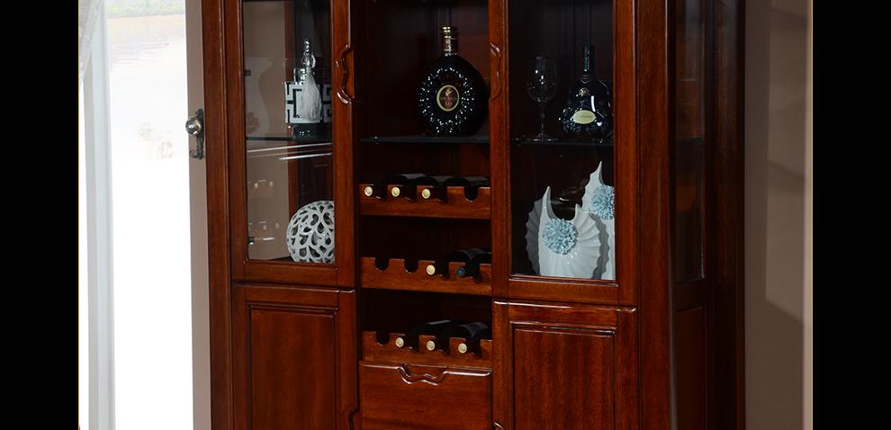 百方家具 全实木酒柜柜子现代中式客厅餐厅玄关柜储物