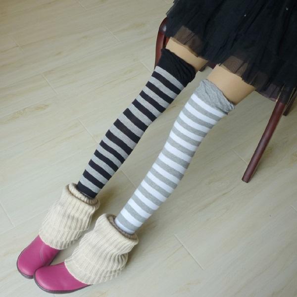 海军风时尚条纹长筒袜 过膝袜 精梳棉高统袜 糖果色打底袜子 蓝白条纹