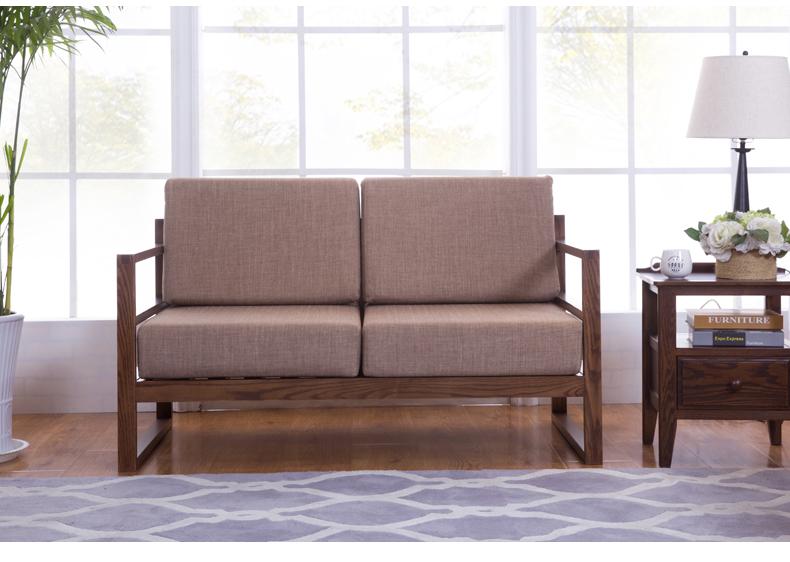 环球精选 实木沙发橡木沙发实木三人 木质木家具客厅