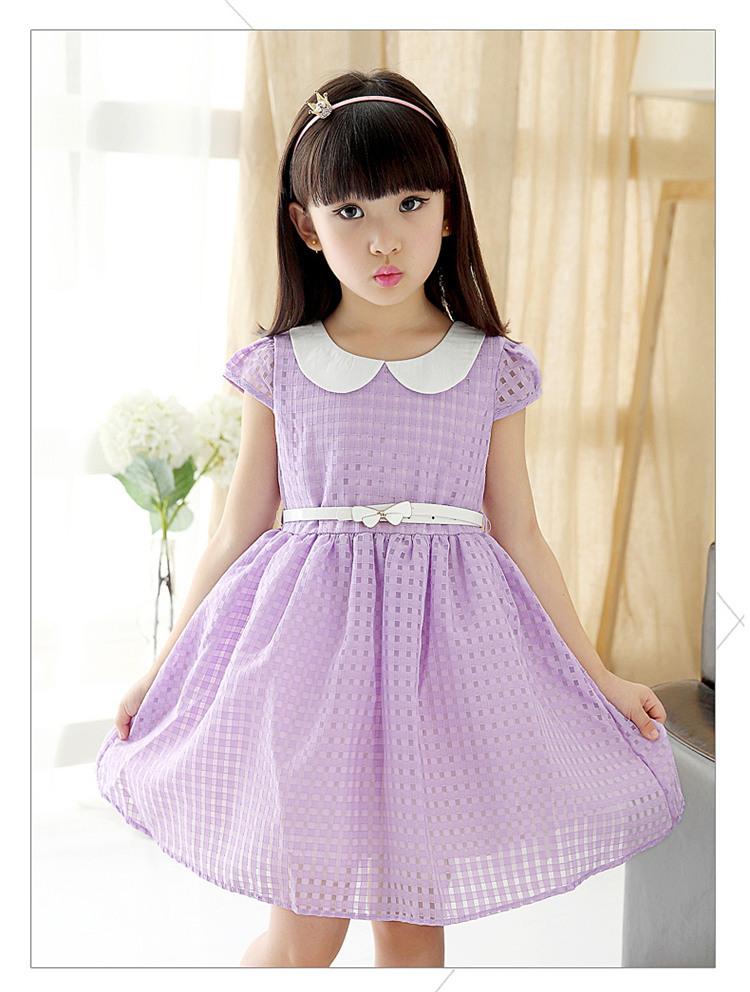 女童夏款娃娃领连衣裙中大童女孩子童装裙子夏天衣服 粉色 110cm