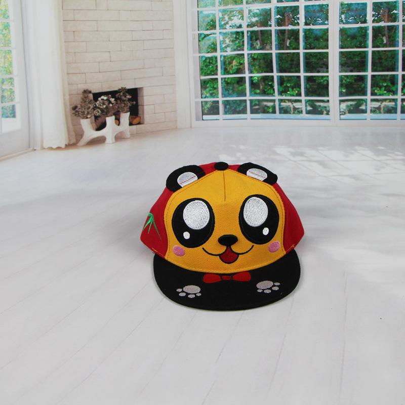 新款韩版儿童帽子超萌卡通领结大熊猫男女儿童嘻哈帽鸭舌棒球帽 熊猫