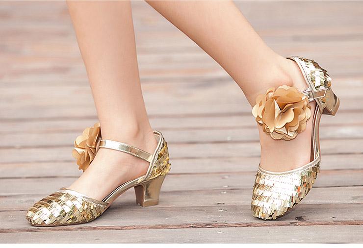 薇妮比比(velvetbee)儿童高跟鞋 公主童鞋 女童中跟亮片拉丁舞蹈鞋