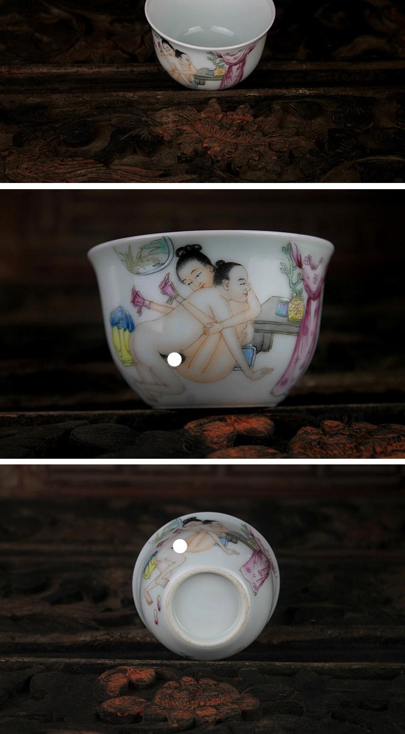 景德镇陶瓷手绘粉彩仿古瓷器 茶杯 景德镇全手工茶具【春宫】图之三