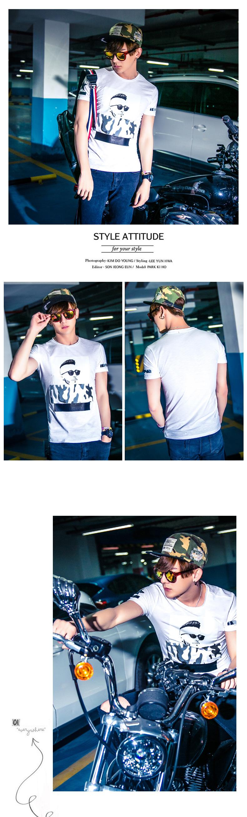 丹杰仕短袖t恤男夏季新款韩版精神小伙时尚印花百搭修身短袖圆领t恤潮