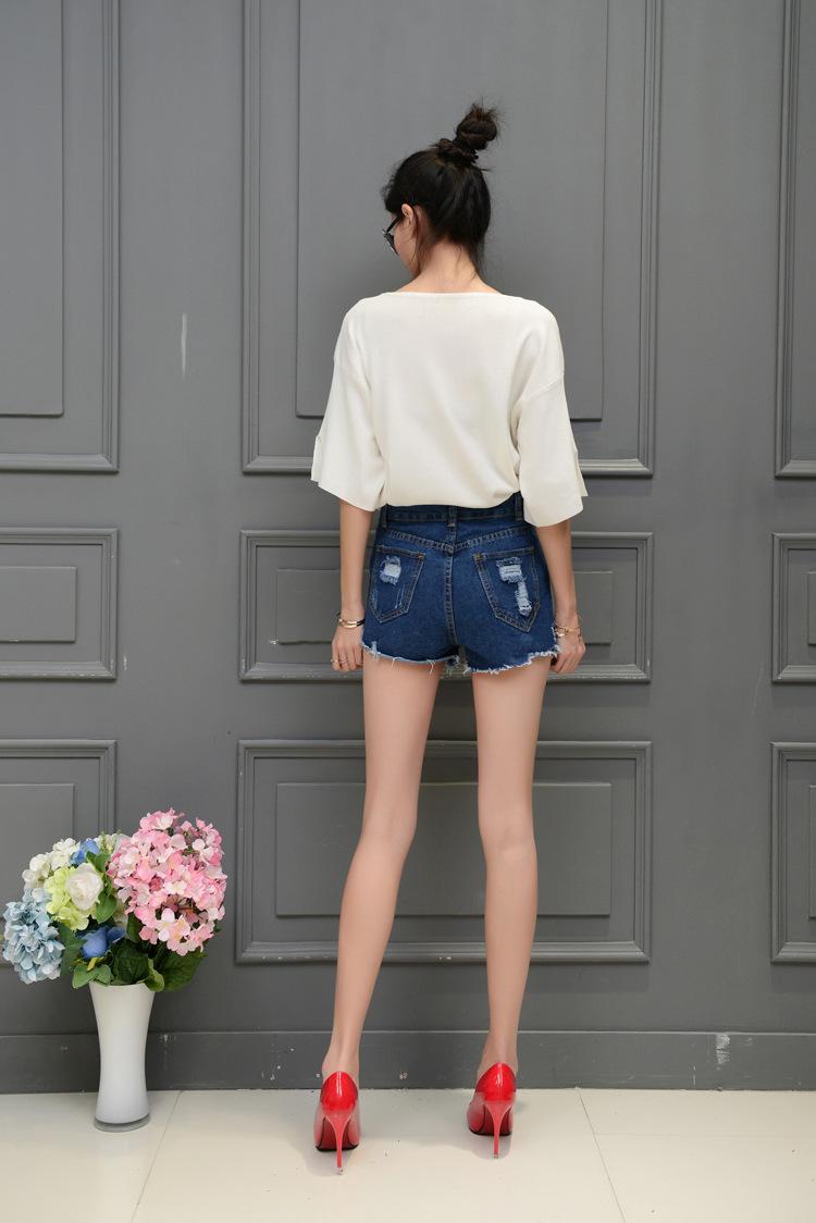 2016宽松大版印花美女背影针织上衣+重工牛仔短裤女