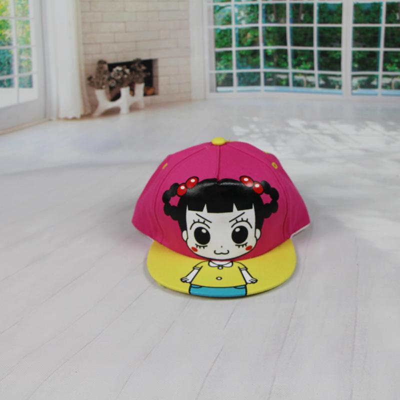 新款韩版可爱儿童卡通人物hello小女孩帽子平檐棒球帽