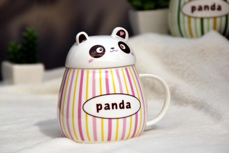 小熊大肚二件套杯 熊头杯子 卡通陶瓷杯可爱儿童水杯 牛奶杯 401-500m