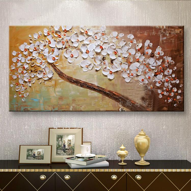 发财树油画手绘抽象画欧式家居有无框装饰画玄关横版挂画招财壁画图片