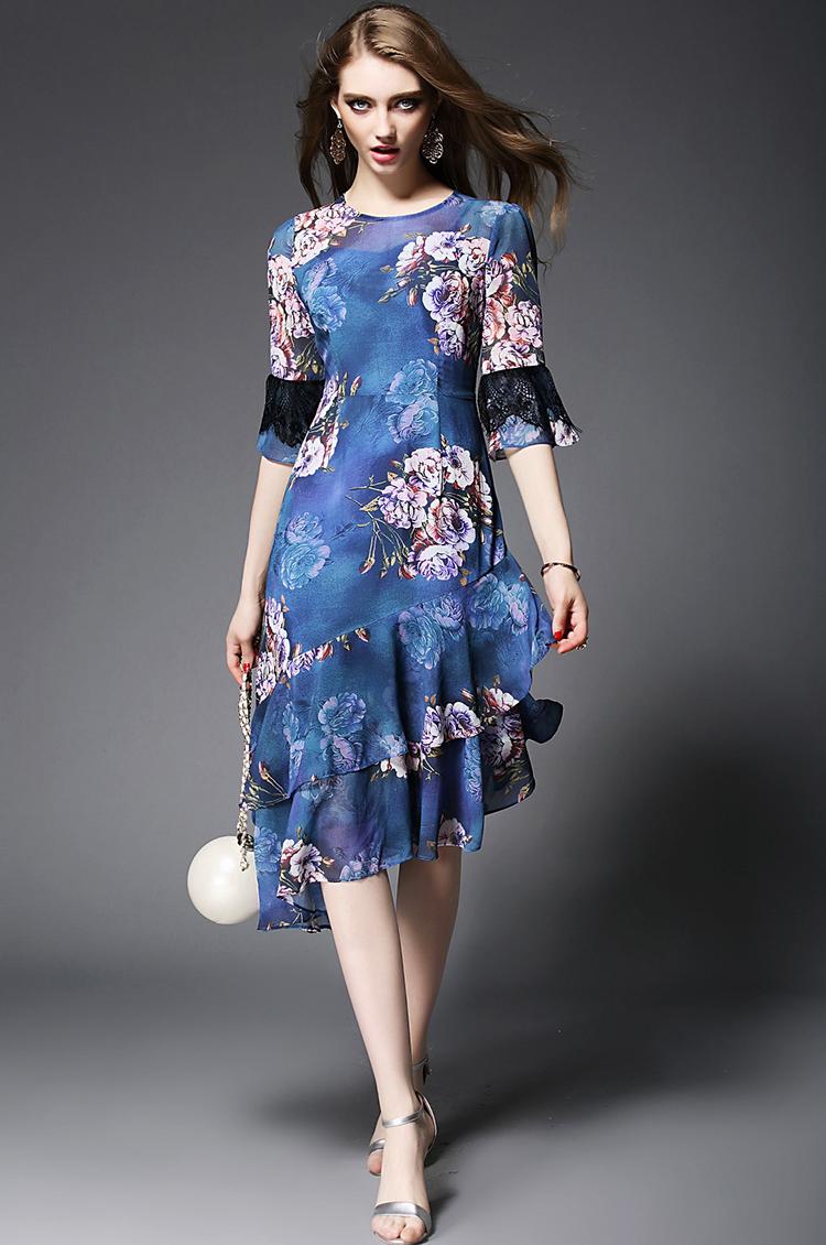 幂派(mipai)欧美女装2016新款优雅印花喇叭袖荷叶边不