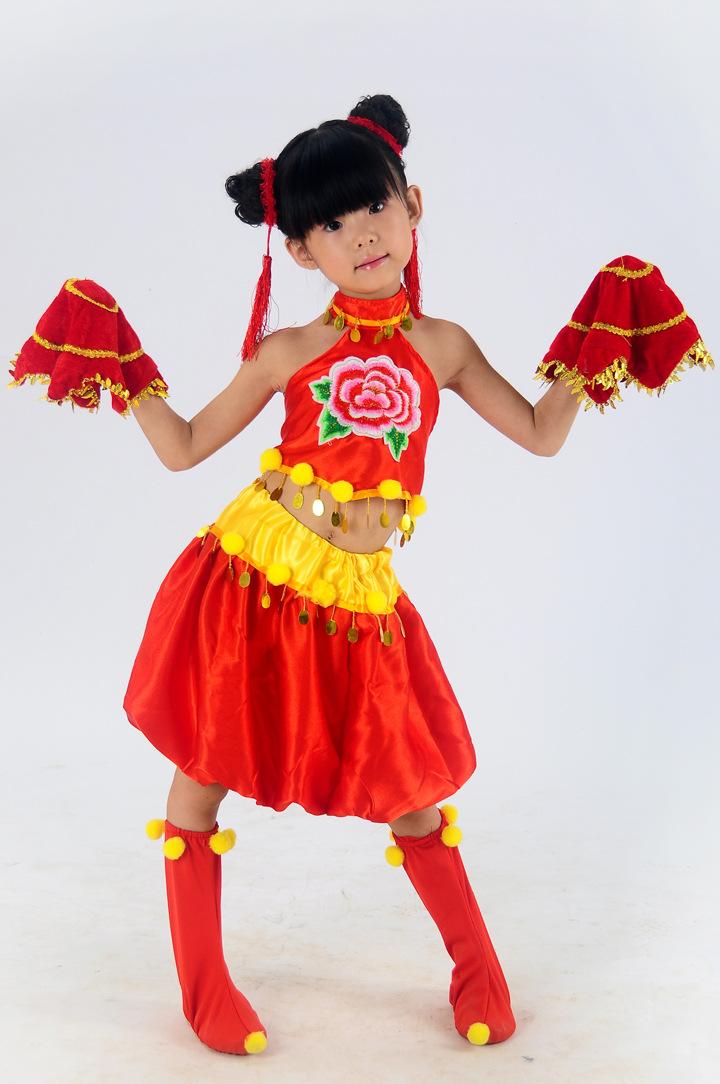 儿童肚兜秧歌舞演出服幼儿园民族舞蹈手绢舞表演服饰-儿童演出服苗图片