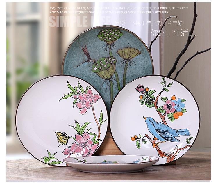 新品上市手绘陶瓷盘子个性西餐盘 创意特色鱼盘套装 复古平盘挂盘 春