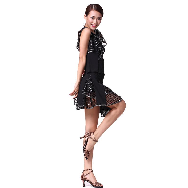 中老年广场舞服装套装夏成人练功服 拉丁舞裙子演出跳舞蹈裙 m图片