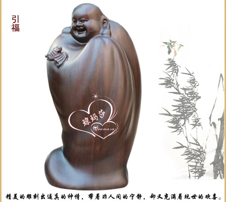 琼玛莎高档红木弥勒佛像木雕 黑檀木雕五福弥勒佛像 福在眼前弥勒佛
