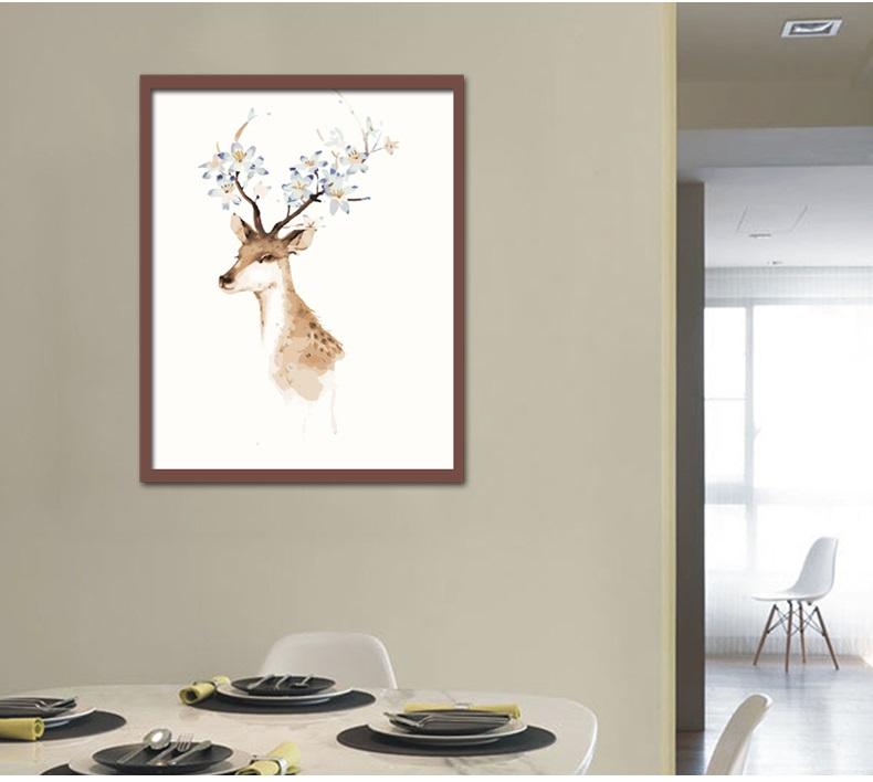 手绘彩色鹿头图片