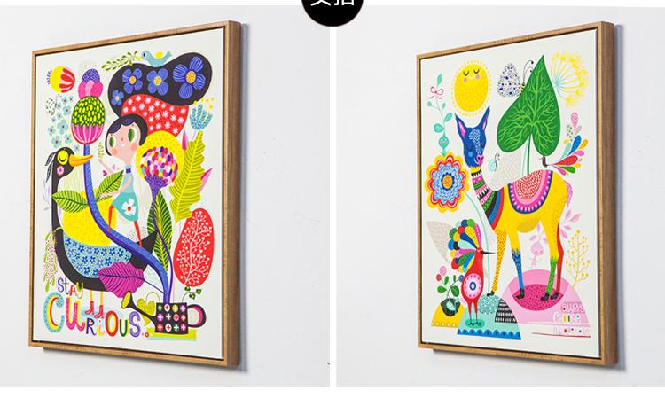 腾彩卡通可爱动物鹿 的缤纷儿童房装饰画卧室床头壁画