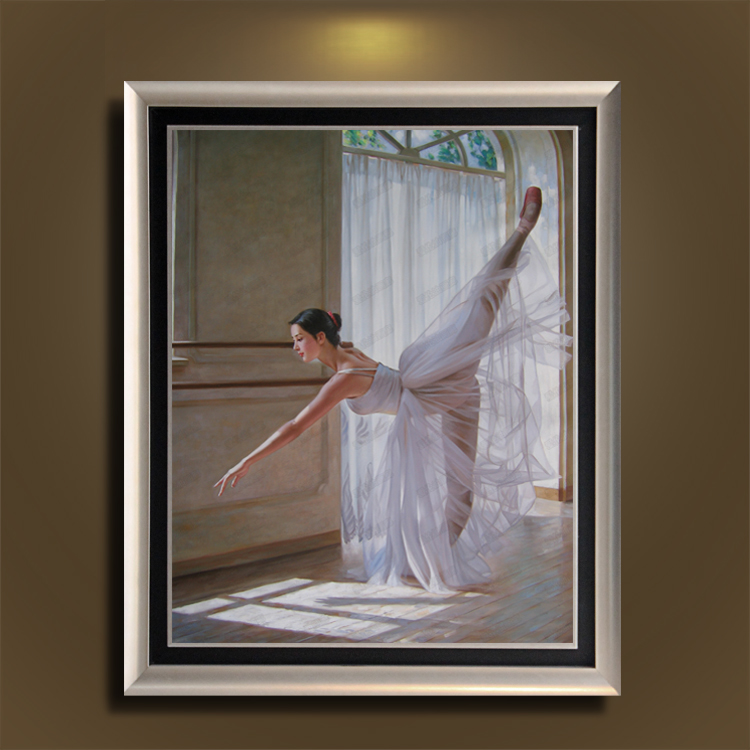 欧式有框画纯手绘人物油画芭蕾舞别墅客厅沙发背景墙卧室装饰画 白色