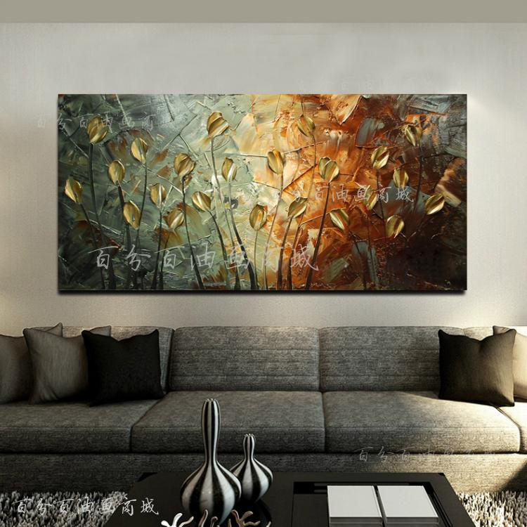 欧式纯手工绘画玄关装饰油画金色发财树横版客厅沙发背景墙过道画图片