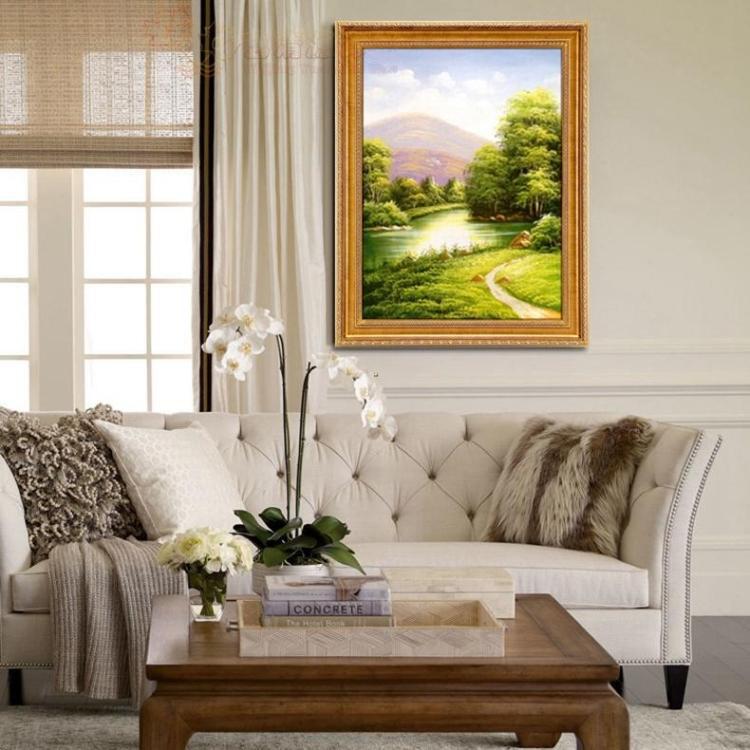 风景油画四季山水纯手绘欧式玄关客厅沙发背景墙三联幅现代装饰画 a款图片