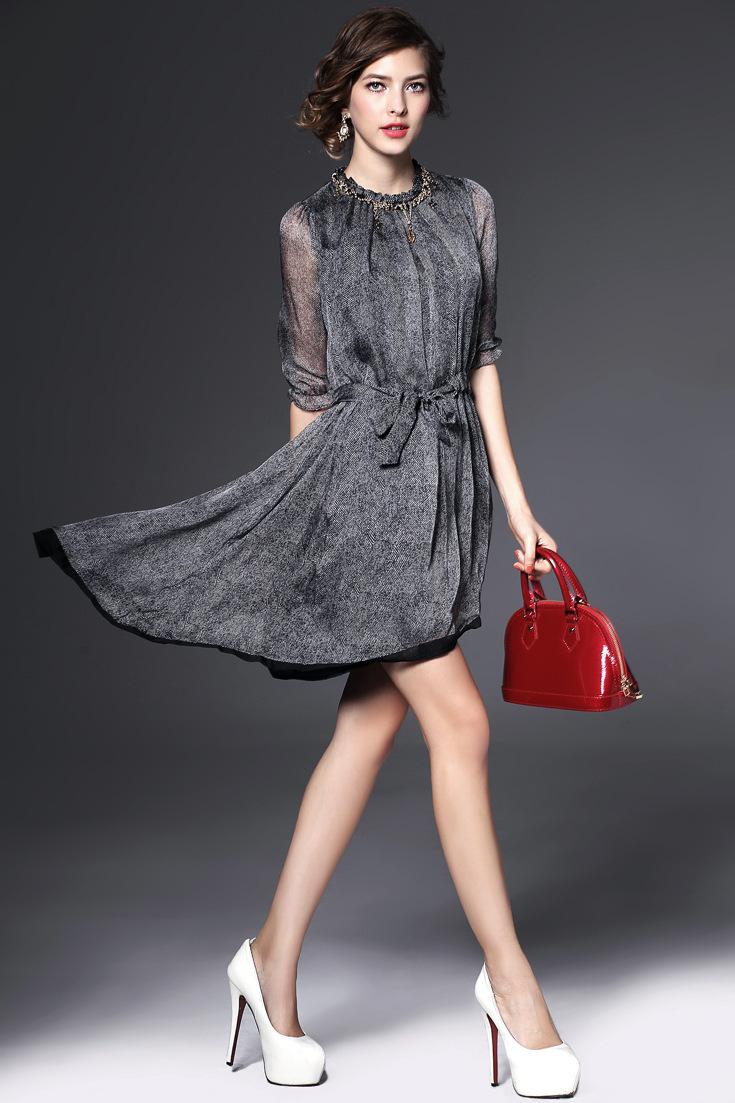 连衣裙中袖
