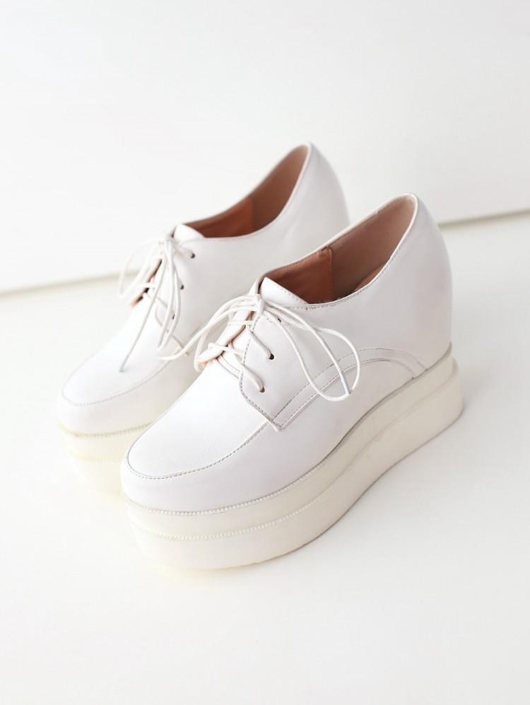 内增高厚底超高跟坡跟松糕鞋系带小白鞋单鞋女鞋复古时尚防滑百搭