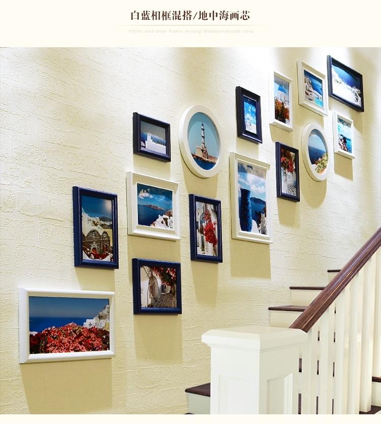 沃居 楼梯照片墙欧式地中海走廊相框墙相片墙创意楼道图片