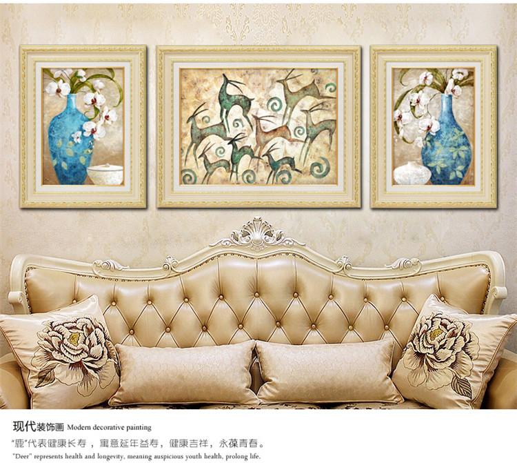 寓意吉祥 沙发背景墙装饰画客厅欧式挂画玄关壁画三联图片