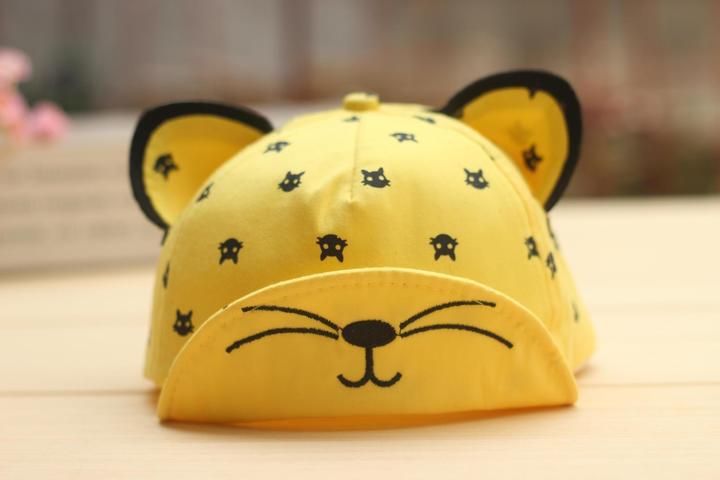 火立方2016新款儿童韩版可爱猫咪立体翻檐棒球帽tj53161 红色 均码
