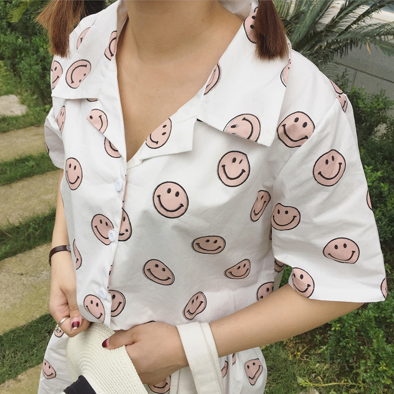 薇心129# 爱笑女孩可爱笑脸睡衣套装 闺蜜姐妹睡衣短裤两件套 黄色