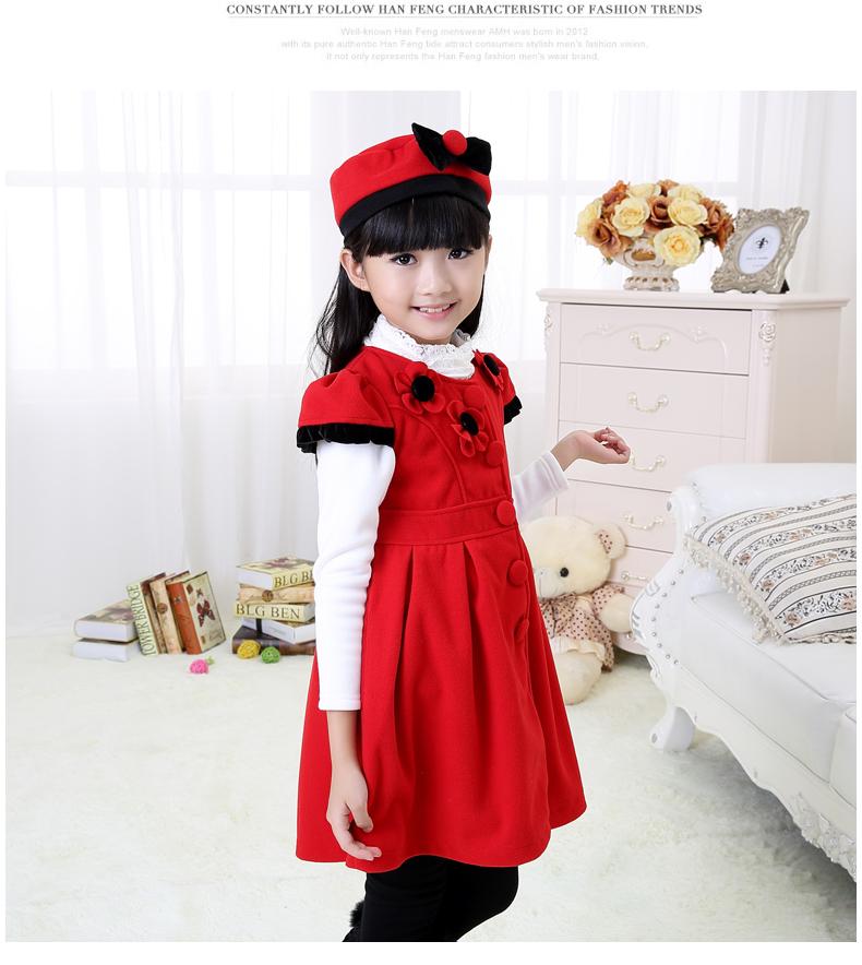 模特天使 2014秋冬新款女童连衣裙 可爱花朵单排扣呢子套裙 玫红色