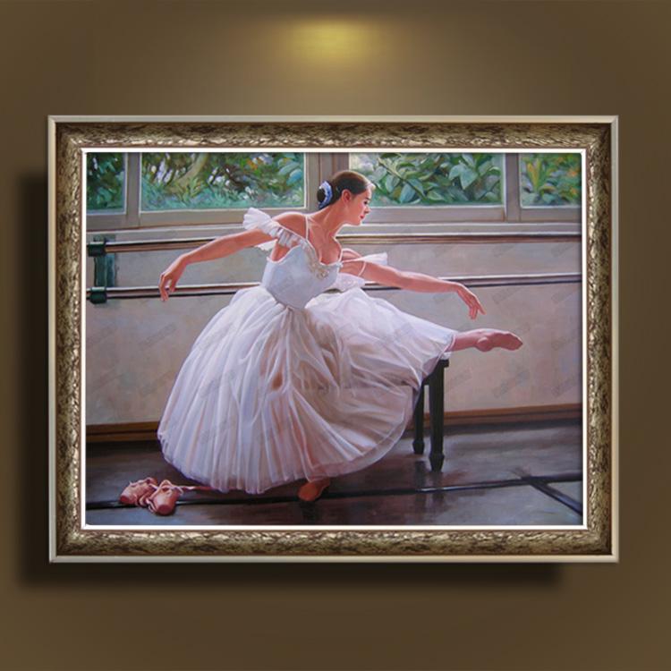 油画纯手绘人物芭蕾舞女写实人物客厅酒店书房卧室挂画装饰有框画