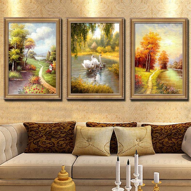 三联天鹅湖客厅油画手绘欧式风景美式定制组合挂画现代装饰画壁画