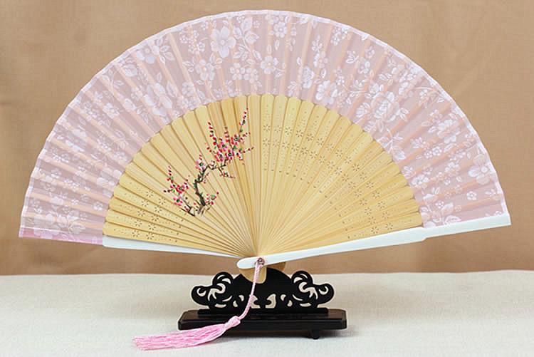 腾彩日本和风樱花日式古风折扇竹真丝手绘礼日用扇子夏季送女友l2 天