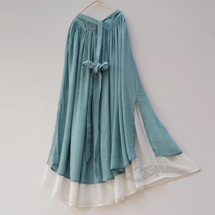 诺焕尔 女装中国风清水溪汉未央手绘茶服女套装文艺对襟开衫 棉麻套装