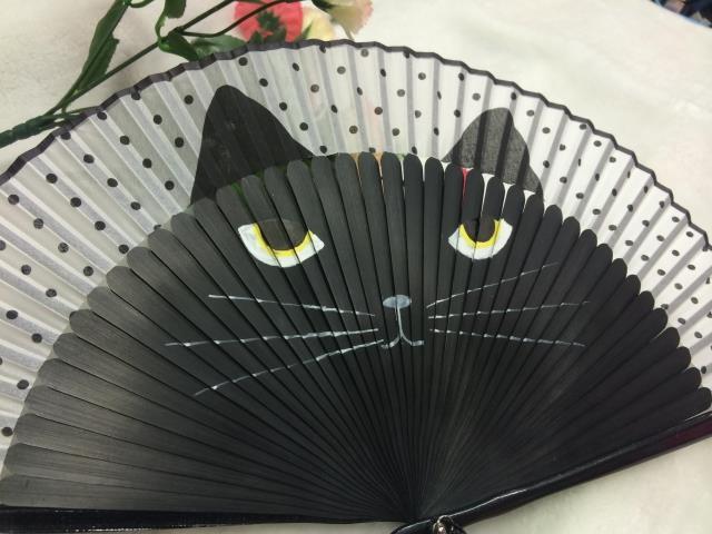 腾彩201日式和风折扇竹柄扇子可爱女生手绘猫咪扇l2 咖啡色 猫咪