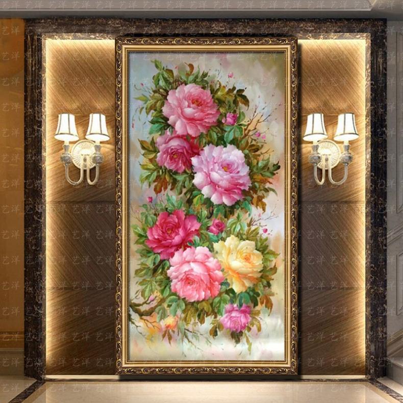 无框画手绘牡丹花油画客厅装饰画玄关风水画走廊餐厅挂画竖版有框