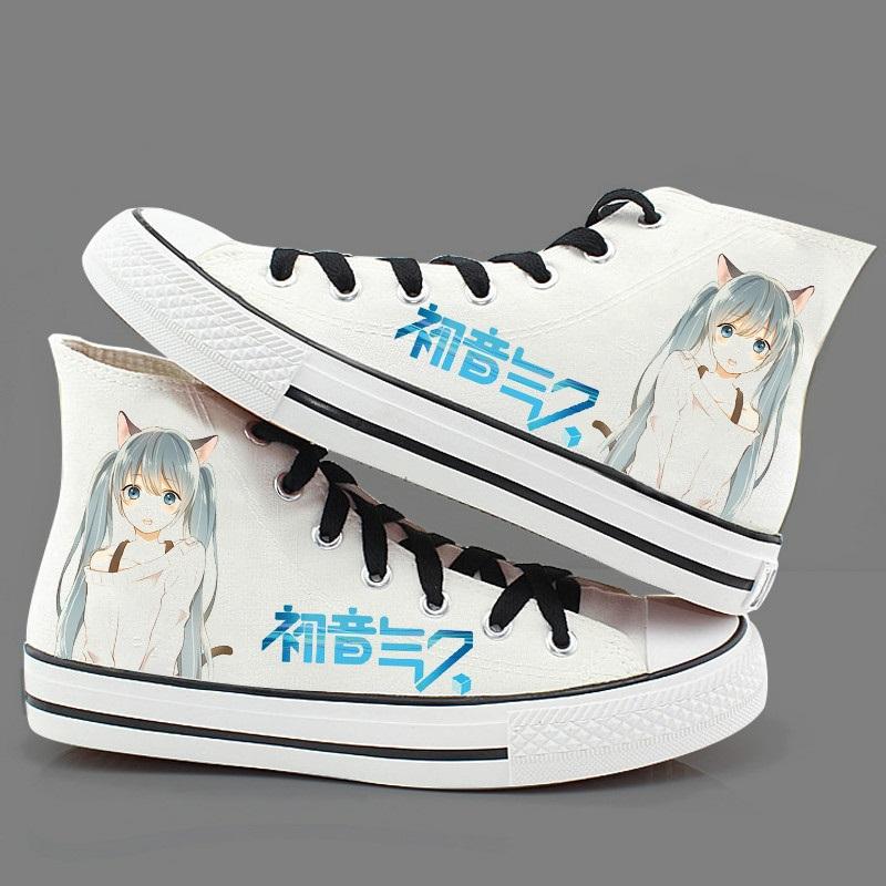 miku初音未来动漫周边帆布鞋高帮学生手绘cos