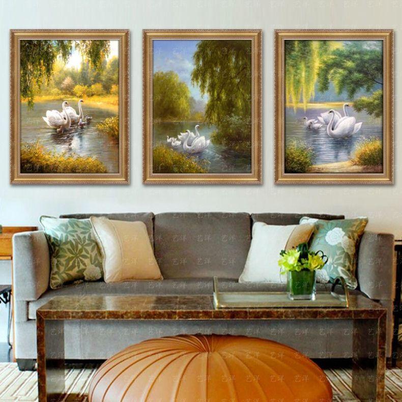三联天鹅湖客厅油画手绘欧式风景美式定制组合挂画现代装饰画壁画 935