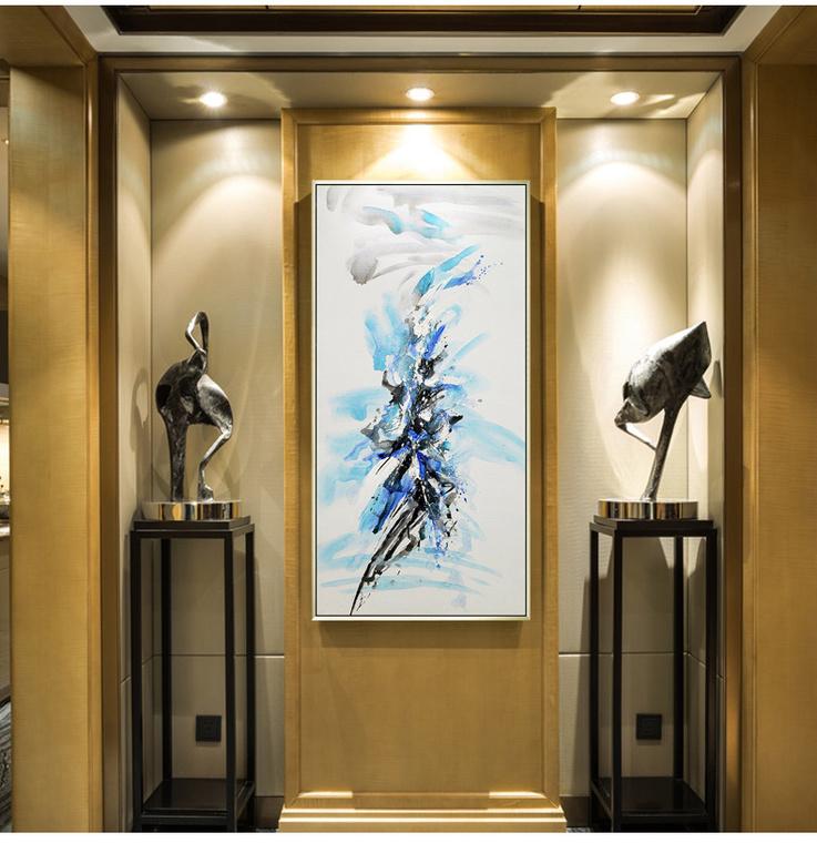 现代简约抽象油画客厅走廊过道壁画欧式纯手绘玄关装饰画竖版挂画