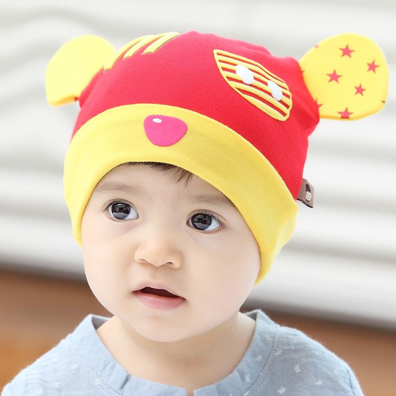 男宝宝帽子m春天保暖纯棉女胎帽秋 韩版潮套头帽婴儿帽6-12个月ky m字