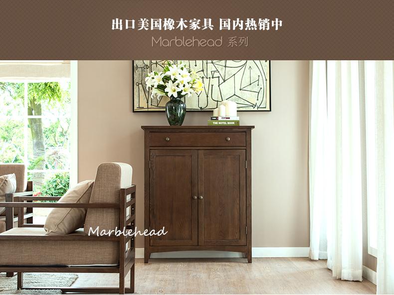 纯实木鞋柜 白橡木鞋柜 北欧简约现代门厅柜进门柜玄关柜客厅家具