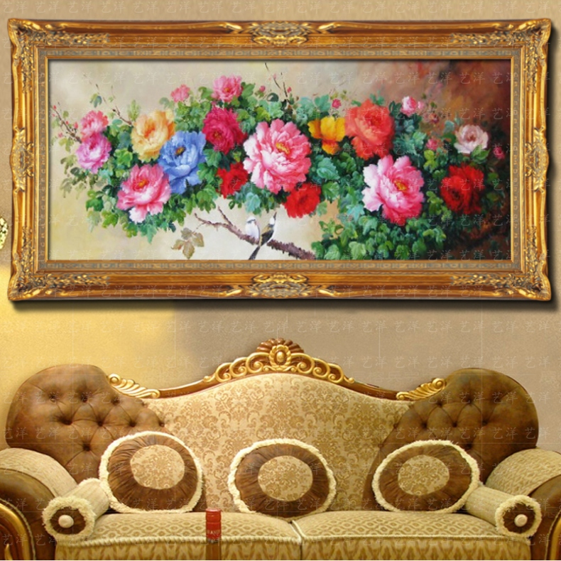 酒店挂画聚宝盆手绘油画富贵牡丹花卉欧式新中式风水