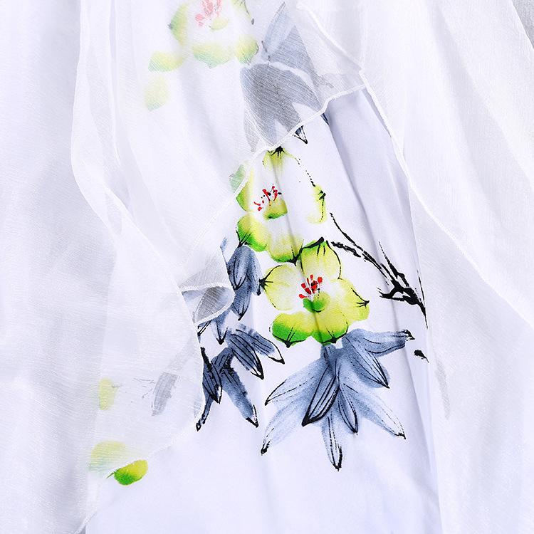 歌米莲春夏百搭手绘不规则半身裙小清新文艺女中长